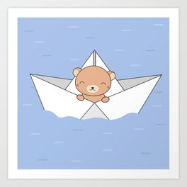 Kawaii Cute Brown Bear On A Boat Art Print