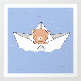 Kawaii Cute Brown Bear On A Boat Art Print