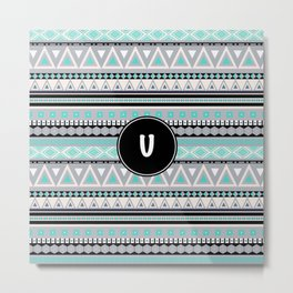 Monogram Tribal Pattern *U* Metal Print