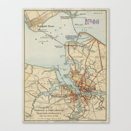 Vintage Map of Norfolk and Portsmouth VA (1919) Canvas Print