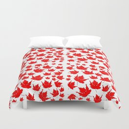 Happy Canada! Enthusiastic Maple Leaf. Duvet Cover
