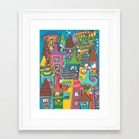 the neighbourhood Framed Art Prints featuring Neighbourhood by Raquel Benmergui