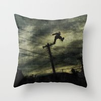 hunting Throw Pillows featuring Hunting by Matthew Dunn