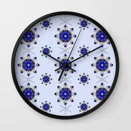 Magical snowflakes in blue, silver and grey Wall Clock