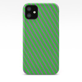 Lime Green and Orchid Colored Striped Pattern iPhone Case