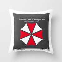 resident evil Throw Pillows featuring No119 My RESIDENT EVIL minimal movie poster by Chungkong