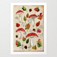 mushrooms Art Prints featuring Mushrooms by Minasmoke
