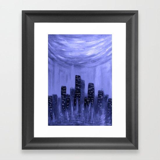 City of Fire ~ Blue  Framed Art Print