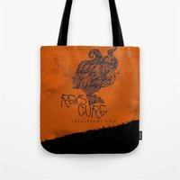 the cure Tote Bags featuring Rex's Cure by JBSalsbury
