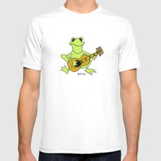 Frog with guitar SMALL White Mens Fitted Tee