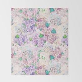 Pastel Purple and blue Lilac & Hydrangea - Flower Design Throw Blanket