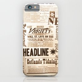 Vintage Newspaper Ads Black and White Typography iPhone Case