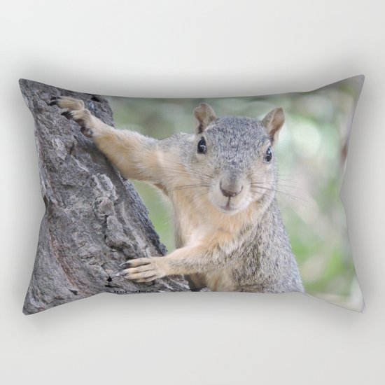 The Who You Lookin At Squirrel Rectangular Pillow