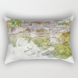 Aquarelle sketch art. View to the historical buildings and bridge Rectangular Pillow
