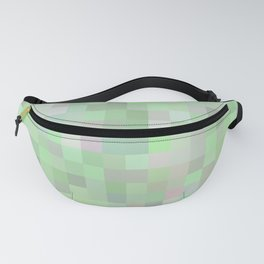 geometric square pixel pattern abstract in green and pink Fanny Pack