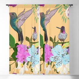 Orchid, alstroemeria and cute humming birds pattern Blackout Curtain