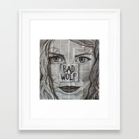 bad wolf Framed Art Prints featuring Bad Wolf  by Chrissie Brown Art
