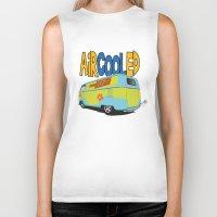 vw bus Biker Tanks featuring VW Camper Drag Bus by VelocityGallery
