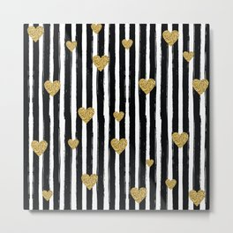 Gold Glitter Hearts Black and White Stripes Metal Print