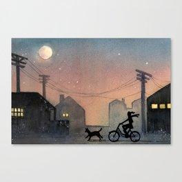 Night Ride Watercolor Canvas Print