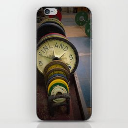 vintage weight lifting plates iPhone Skin
