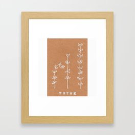 Thyme Herb Design — Botanical Art Print — Herb Plant Design — Thyme White Ink Design Framed Art Print