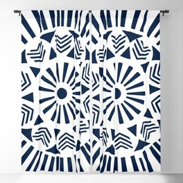 Circle pattern navy blue on white sun Blackout Curtain
