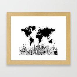 world map city skyline 4 Framed Art Print