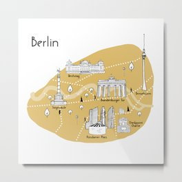 Mapping Berlin - Yellow Metal Print