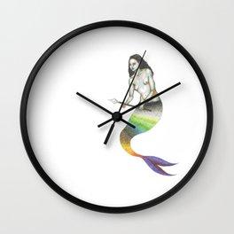 pale mermaid holding a spear Wall Clock