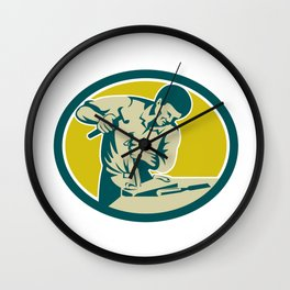 Carpenter Hammer Chisel Chiseling Retro Wall Clock