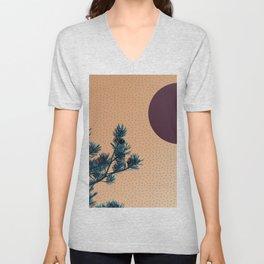 Pine tree and blue polka dots Unisex V-Neck