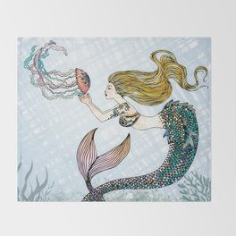 Jellyfish and Mermaid Throw Blanket