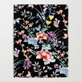 French Butterfly Black Poster