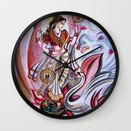 Musical Goddess Saraswati - Healing Art Wall Clock