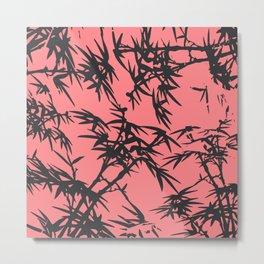 Girly coral gray tropical bamboo pattern Metal Print