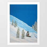 snowboarding Art Prints featuring Snowboarding by N_T_STEELART