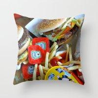 junk food Throw Pillows featuring Junk Food by Renatta Maniski-Luke