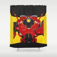 pacific rim Shower Curtains featuring Pacific Rim - Crimson Typhoon - Minimal Poster by John Takacs