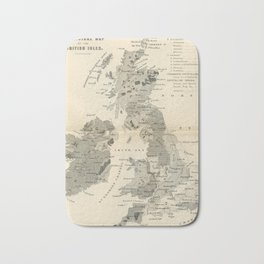 Vintage and Retro Geological Map British Isles Bath Mat