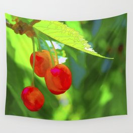 Red Cherries Painting Wall Tapestry