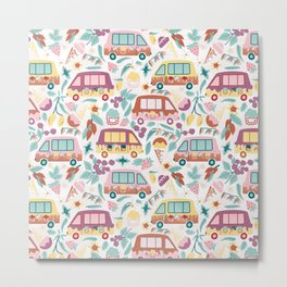 Nostalgic Summer- Ice Cream Truck with Natural Ingredients Metal Print