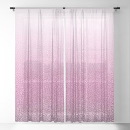 Faded pink and white swirls doodles Sheer Curtain