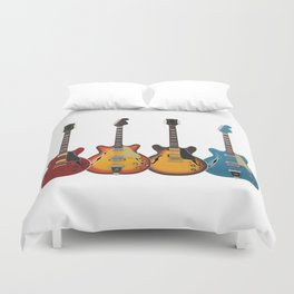 Four Electric Guitars Duvet Cover
