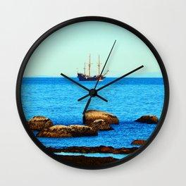 Spanish Galeon by the Rocks Wall Clock