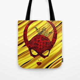 Horns, masked and crowned on yellow Tote Bag