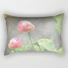 Asiatic Flowers in Pale Pink Rectangular Pillow