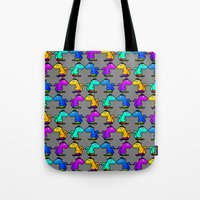 psychadelic Tote Bags featuring Psychadelic skate dinos by Joe Schultz