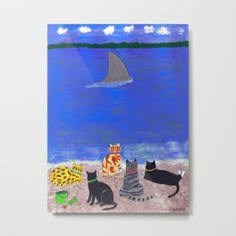 Cats on the Beach Metal Print