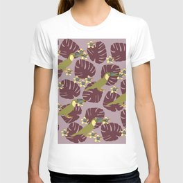 Colorful Monstera, Frangipani and Toucan Pattern QR T-shirt